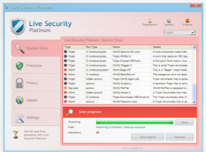Live Security Platinum Warning Spyware