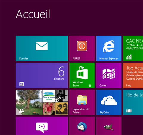 Création d'un bouton ARRET windows8